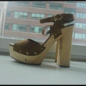 Suede Zara wooden platforms